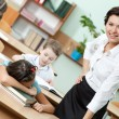 Sleeping at the desk pupil — Stock Photo