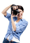 Creative lady-photographer takes shots — Stock Photo