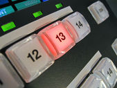 Abstract power keys on control panel, equipment details. — Stock Photo