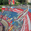 Advertising board - crazy from football, united to fun zone in Kiev. — Stock Photo