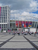 Renewed Olympic Sport Stadium before match Sweden-England in Kiev. — Стоковое фото