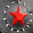 Red star on retro steam engine (boiler), nostalgia. — Stok fotoğraf