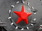 Red star on retro steam engine (boiler), nostalgia. — Stockfoto
