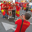 Sport fans from Spain in Euro 2012 football fun zone, Kiev. — Stock Photo