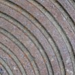 Abstract rusty metall surface with round rings, construction. — Stock Photo