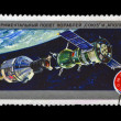 Stamp printed in USSR (Russia) shows experimental flight of Soyuz and Apollo spaceship. — Stok fotoğraf