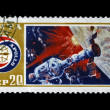 Stamp printed in USSR shows International flight of Soyuz and Apollo, circa 1975. — Stock Photo
