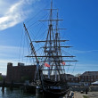USS Constitution is the world oldest commissioned naval vessel in Boston. — Stock Photo