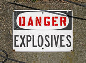 Danger explosives, warning message on signboard. — Stock Photo