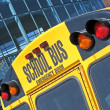 Emergency door on yellow school bus, security details. — Stock Photo