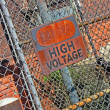 Stock Photo: Danger - high voltage as warning message on vintage signboard.