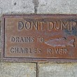 Постер, плакат: Do not dump drains to chales river as text on vintage surface