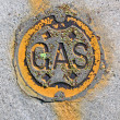 Stock Photo: Vintage yellow gas manhole, energy details.