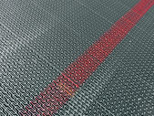 Abstracr silver metal surface with marked red line, industry. — Stock Photo