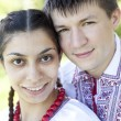 Slav girl and young cossack at nature. — Stock Photo #11077153