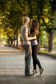Young couple on the street of the city. — Stock Photo