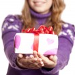 Blonde girl with present box at st. Valentine's day. — Stockfoto