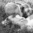 Young teenage couple in park. Photo in black and white style. — Stock Photo #11233614