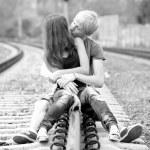 Couple kissing at railway. Urban photo. — Stock Photo #11233713