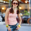 Hipster girl at the street. - Stock Photo