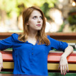 Style redhead girl sitting on the bench in the cafe - Stock Photo