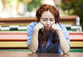 Hipster girl in depression — Stock Photo