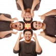 4 men holding present box on head at white background. — Stock Photo