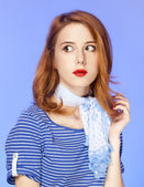 Surprised american redhead girl in suglasses. — Stock Photo