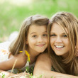 Stock Photo: Two sisters in the park.