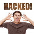 Man cry at hacked on background. — Stock Photo