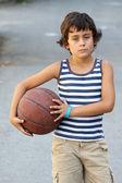 Boy with basketball ball — Stock fotografie
