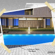 Modern house with pool project — Stock Photo
