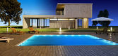 Day and Night Modern house — Stockfoto