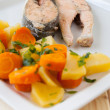 Salmon steaks with vapor cooked veggies — Foto Stock