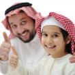 Happy father and son with thumb up — Stock Photo