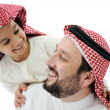 Arabic Muslim father and son — Stock Photo