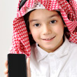 Cute Arabic Kid with cell phone — Stock Photo