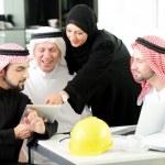 Portrait of araabic architect explaining his project — Stock Photo #11748330