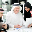 Business arabic meeting indoor with electronic tablet — Stock Photo #11748378