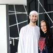 Two couple muslim standing on office — Stock Photo