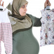 Thinking Pregnant  muslim woman ,what is it,girl or boy. — Stock Photo