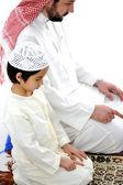 Vader en zoon samen bidden — Stockfoto