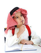 Middle eastern school child thinking — Stockfoto