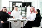 Arabic elderly business with his team at office — Photo