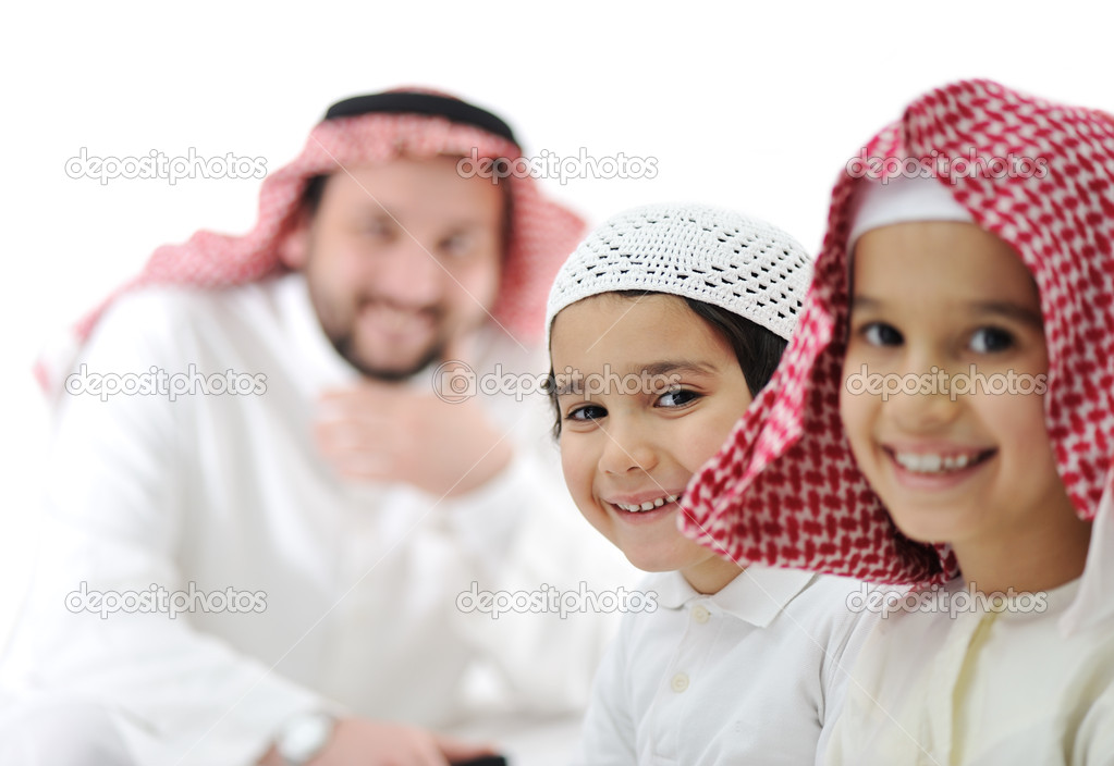 Arabic happy family indoor — Stock Photo #11747375