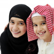 Portrait of little Arabic Muslim boy and girl — Stok fotoğraf