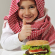 Little boy with burger — Stock Photo #11751128