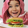 Little boy with cheeseburger — Stock Photo #11751133