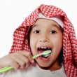 Arabic boy with toothbrush — Stock Photo #11751331