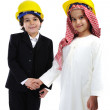 American and Arabic Muslim little  constructors — Stock Photo